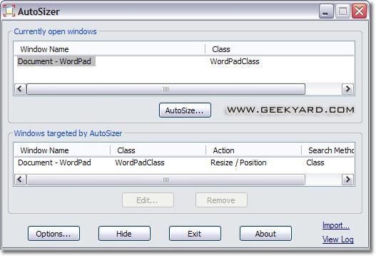 AutoSizer : Automatically Window Resizer Freeware Utility