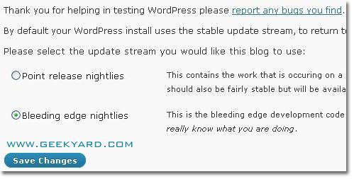 Upgrade WordPress to WordPress 3.0 Beta 1