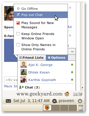 separate window for Facebook chat