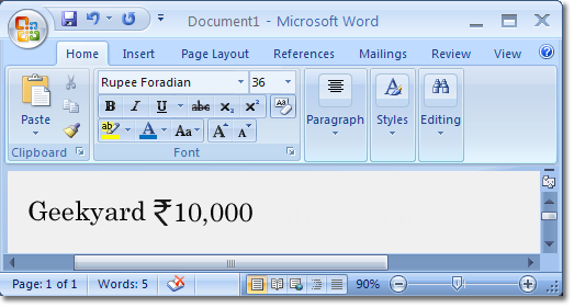 Indian Rupees Symbol in Ms Word