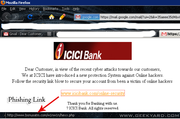 ICICI Phishing Site - Hacking