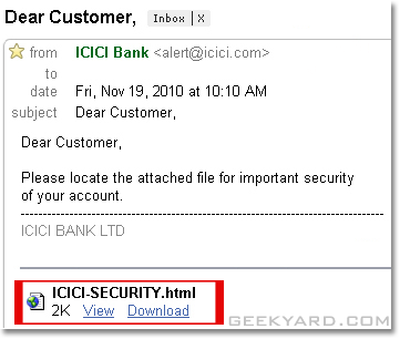 Beware of ICICI Bank Phishing Emails