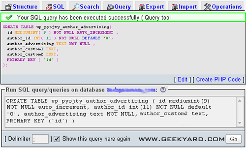 SQL query has been executed successfully