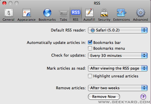 Safari Preferences for RSS Feeds