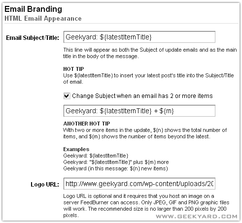 Change FeedBurner Email Subject Line and Logo – Email Branding