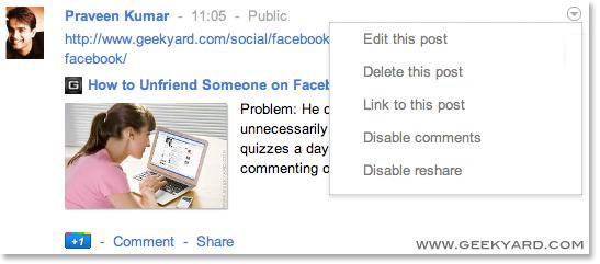 Edit the post in Google Plus