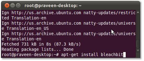 Install BleachBit using Linux Terminak