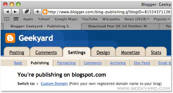 Settings Buy Custom Domain Name