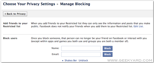 Block or Unblock users in Facebook