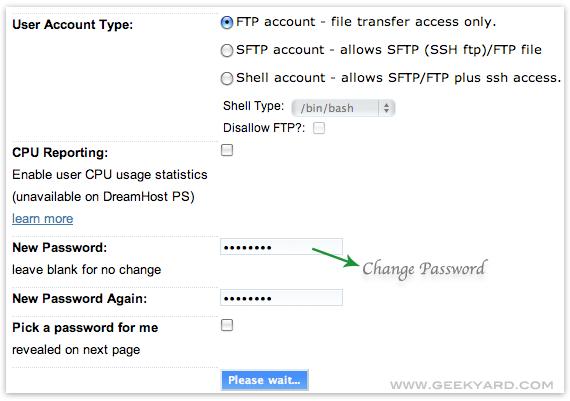 Change Dreamhost FTP Account Passwords