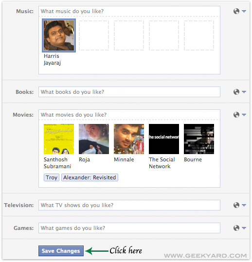 Save Changes of Facebook Profile