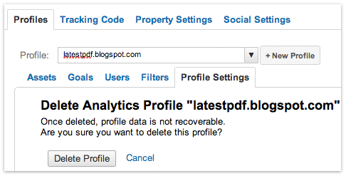 Delete Google Analytics Profile