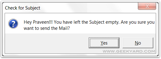 How To Enable No Subject Warning in Microsoft Outlook 2007