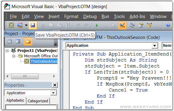 Visual Basic code for Outlook 2007