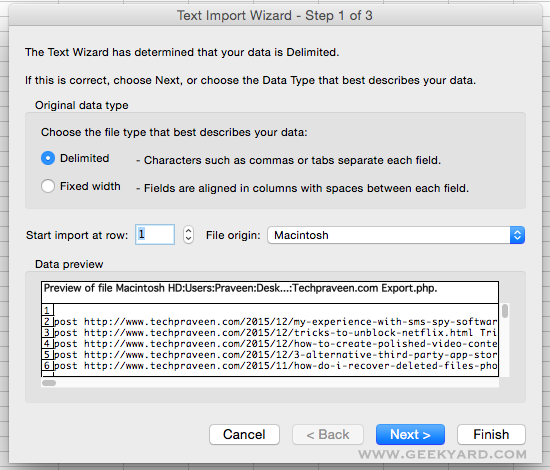 Excel Text Import Wizard Step 1