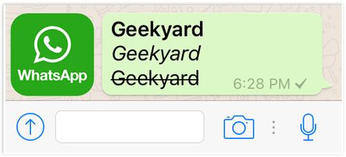 WhatsApp Icon Bold, Italics and Strikethrough Text