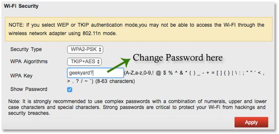 Change MTS Wifi Password