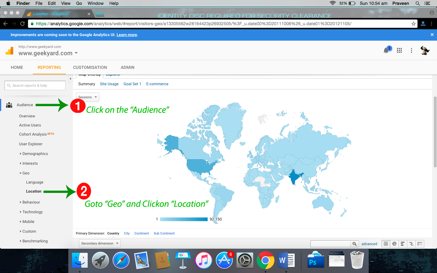 Google Analytics tool Geolocation
