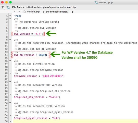 WP Version PHP Page Description
