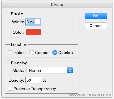 Stroke Dialog Box Adobe Photoshop