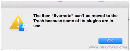 Evernote Error Dialog Box