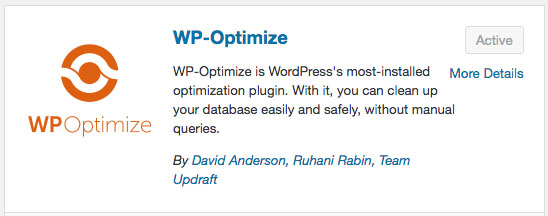 WP Optimize Plugin Screen